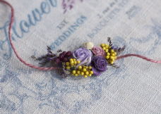 Lilac & Yellow Floral Hair Tie